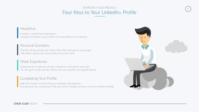 CHESS CLUB MEDIA 4IMPROVE YOUR PROFILE Four Keys to Your LinkedIn® Profile Creates a great first impression. Having one ma...
