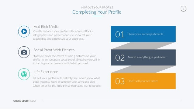 CHESS CLUB MEDIA 8IMPROVE YOUR PROFILE Completing Your Profile 01 03 02 Share your accomplishments. Almost everything is p...