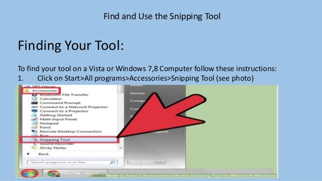 windows 7 snipping tool instructions