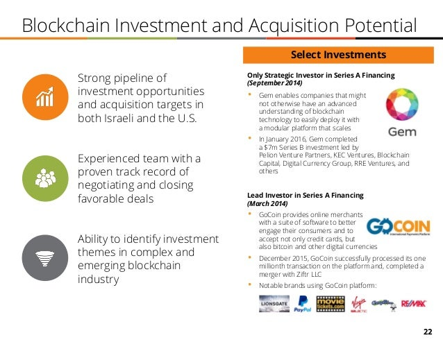 22 Blockchain Investment and Acquisition Potential Strong pipeline of investment opportunities and acquisition targets in ...