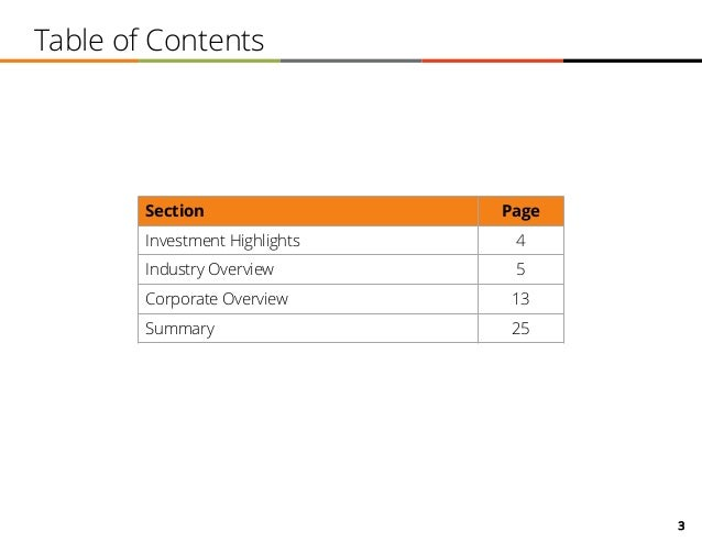 3 Table of Contents Section Page Investment Highlights 4 Industry Overview 5 Corporate Overview 13 Summary 25