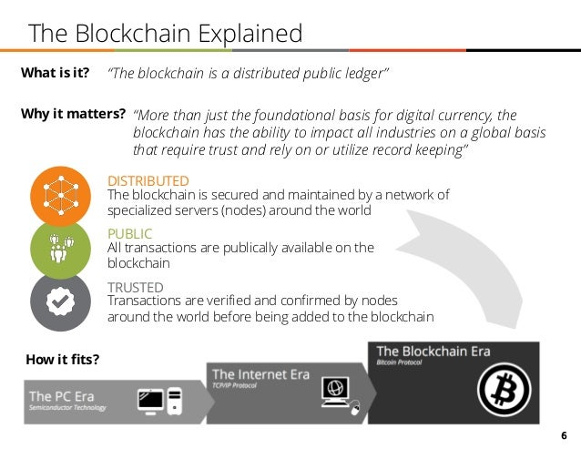 """6 The Blockchain Explained """"The blockchain is a distributed public ledger"""" DISTRIBUTED TRUSTED Transactions are verified a..."""