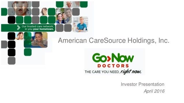 american caresource holdings  inc