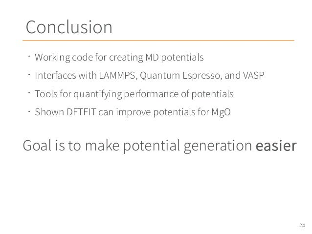 DFTFIT: Potential Generation for Molecular Dynamics Calculations