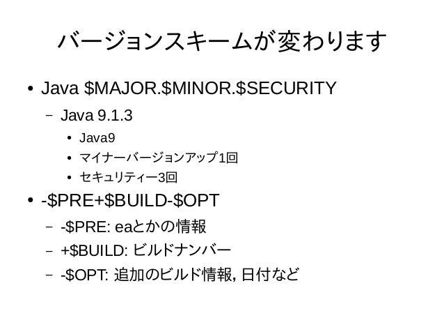 Runtime.Versionクラス Runtime.Version version = Runtime.version(); int major = version.major(); int minor = version.minor(); ...