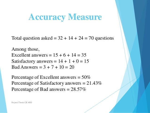 Accuracy Measure Total question asked = 32 + 14 + 24 = 70 questions Among those, Excellent answers = 15 + 6 + 14 = 35 Sati...