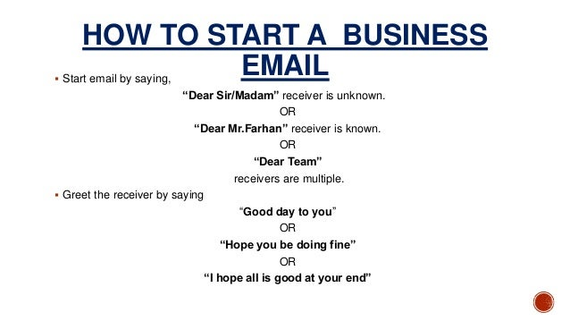 how to start a business email
