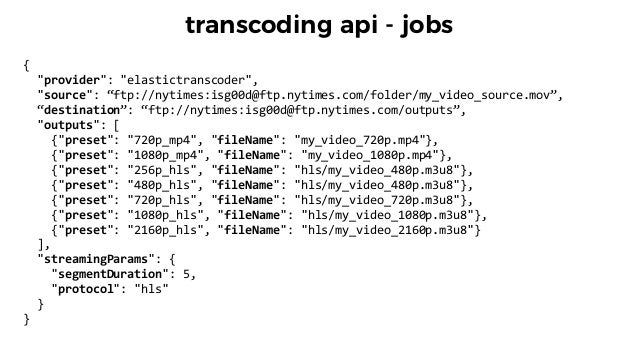 "transcoding api - jobs {       ""provider"":  ""elastictranscoder"",     ""source"":  ""ftp://nytimes:isg00d@ftp.n..."