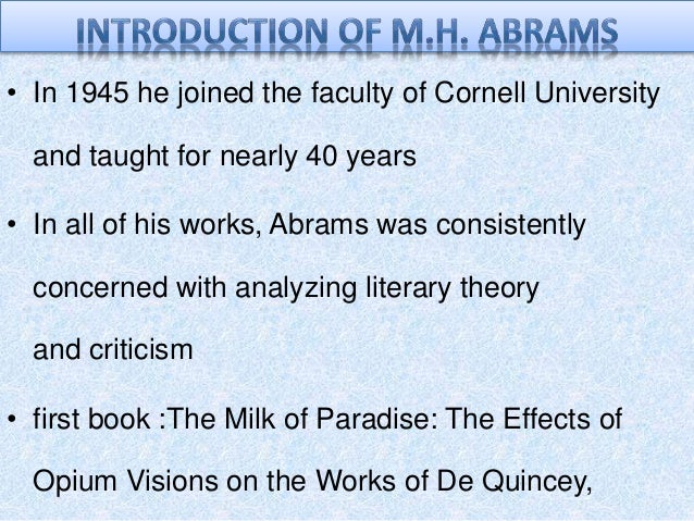 abrams orientation of critical theories