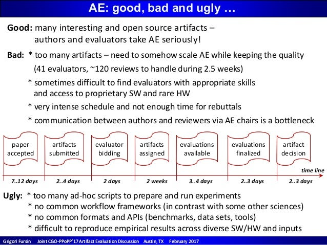 CGO/PPoPP'17 Artifact Evaluation Discussion (enabling open and reproducible research) Slide 3