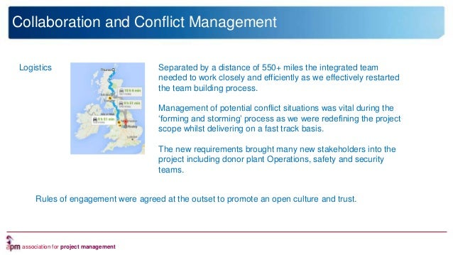 association for project management Collaboration and Conflict Management Logistics Separated by a distance of 550+ miles t...