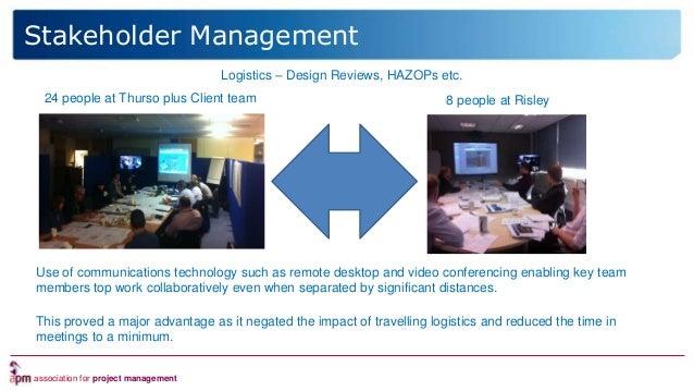 association for project management Logistics – Design Reviews, HAZOPs etc. 24 people at Thurso plus Client team 8 people a...