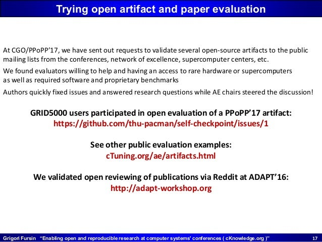 """Grigori Fursin """"Enabling open and reproducible research at computer systems' conferences ( cKnowledge.org )"""" 1717 Trying o..."""