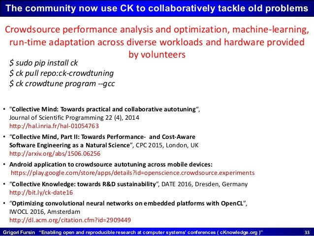 """Grigori Fursin """"Enabling open and reproducible research at computer systems' conferences ( cKnowledge.org )"""" 3333 • """"Colle..."""