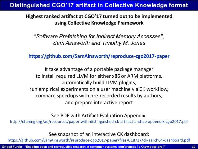 """Grigori Fursin """"Enabling open and reproducible research at computer systems' conferences ( cKnowledge.org )"""" 3939 Distingu..."""
