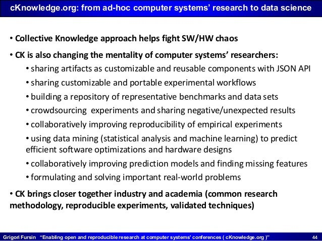 """Grigori Fursin """"Enabling open and reproducible research at computer systems' conferences ( cKnowledge.org )"""" 4444 • Collec..."""