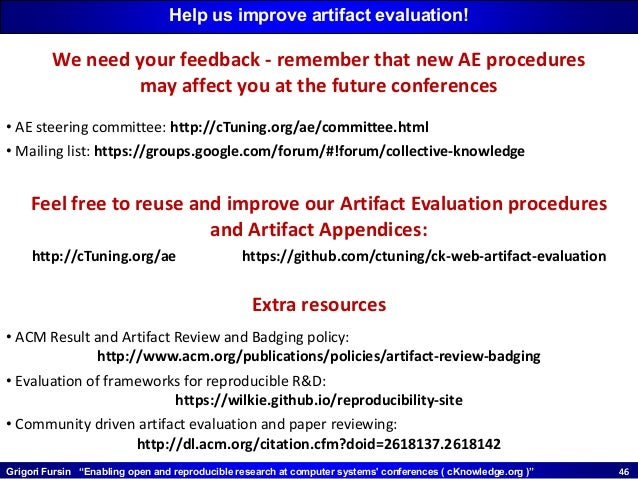 """Grigori Fursin """"Enabling open and reproducible research at computer systems' conferences ( cKnowledge.org )"""" 4646 Help us ..."""