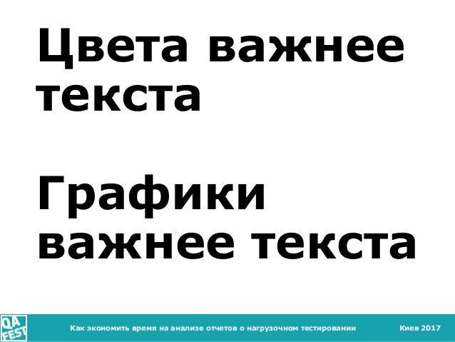 Киев 2017 Цвета важнее текста Графики важнее текста Как экономить время на анализе отчетов о нагрузочном тестировании