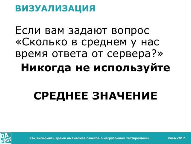 Киев 2017 ВИЗУАЛИЗАЦИЯ Если вам задают вопрос «Сколько в среднем у нас время ответа от сервера?» Никогда не используйте СР...