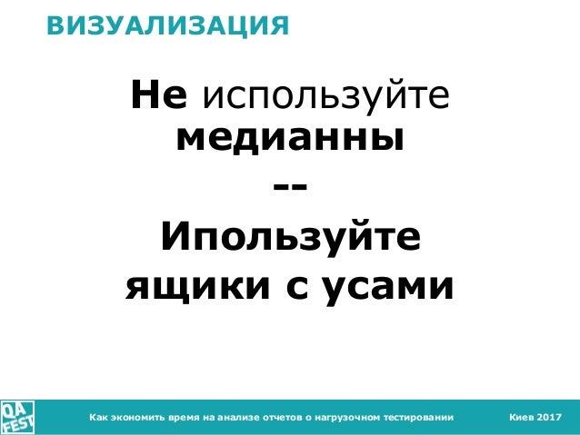 Киев 2017 ВИЗУАЛИЗАЦИЯ Не используйте медианны -- Ипользуйте ящики с усами Как экономить время на анализе отчетов о нагруз...