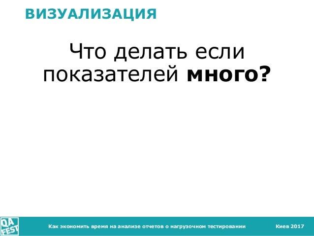 Киев 2017 ВИЗУАЛИЗАЦИЯ Что делать если показателей много? Как экономить время на анализе отчетов о нагрузочном тестировании