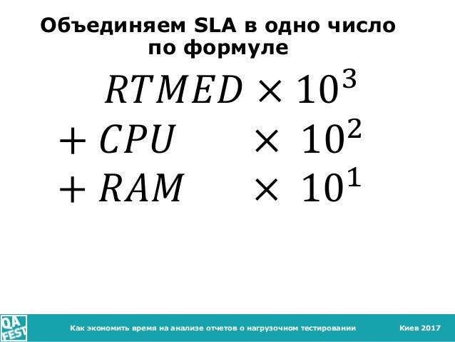 Киев 2017Как экономить время на анализе отчетов о нагрузочном тестировании Объединяем SLA в одно число по формуле 𝑅𝑇𝑀𝐸𝐷 × ...
