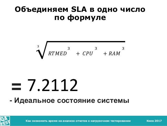 Киев 2017Как экономить время на анализе отчетов о нагрузочном тестировании Объединяем SLA в одно число по формуле 3 𝑅𝑇𝑀𝐸𝐷 ...