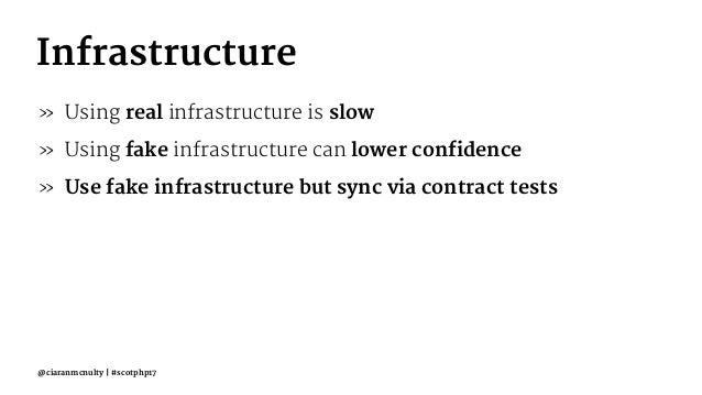 Infrastructure » Using real infrastructure is slow » Using fake infrastructure can lower confidence » Use fake infrastruct...