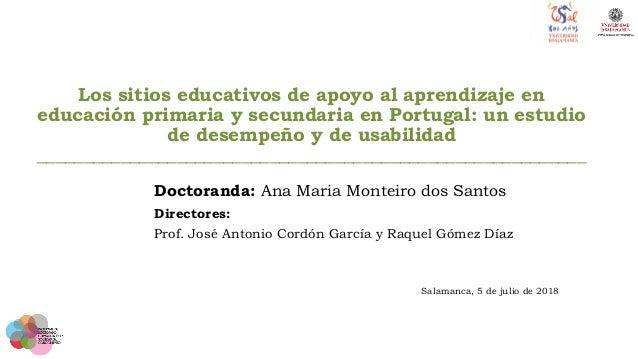 Los sitios educativos de apoyo al aprendizaje en educación primaria y secundaria en Portugal: un estudio de desempeño y de...