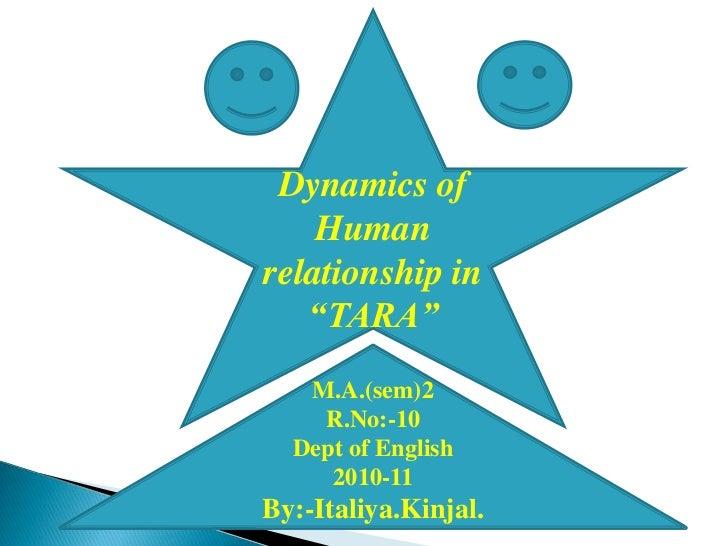 "Dynamics of Human relationship in ""TARA""<br />M.A.(sem)2<br />R.No:-10<br />Dept of English<br />2010-11<br />By:-Italiya...."