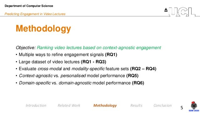 5 Predicting Engagement in Video Lectures Methodology Department of Computer Science Introduction Related Work Methodology...