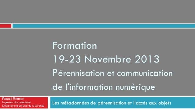 Formation 19-23 Novembre 2013 Pérennisation et communication de l'information numérique Pascal Romain Ingénieur documentai...