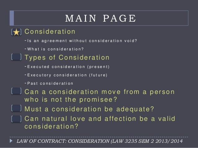 Law Of Contract Consideration