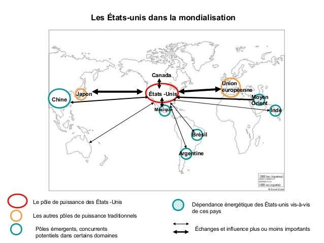 Les États-unis dans la mondialisation  Canada  Chine  Japon  Union européenne Moyen Orient  États -Unis Mexique  Inde  Bré...