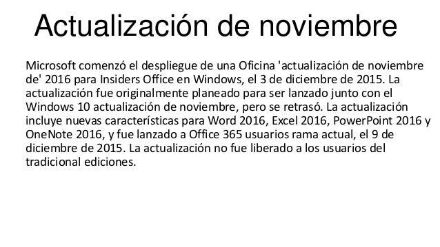 Actualización de noviembre Microsoft comenzó el despliegue de una Oficina 'actualización de noviembre de' 2016 para Inside...
