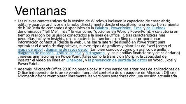 Ventanas • Las nuevas características de la versión de Windows incluyen la capacidad de crear, abrir, editar y guardar arc...