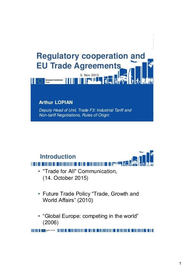 Regulatory Cooperation And Eu Trade Agreements