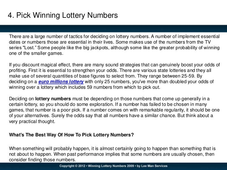 how to choose winning lottery numbers