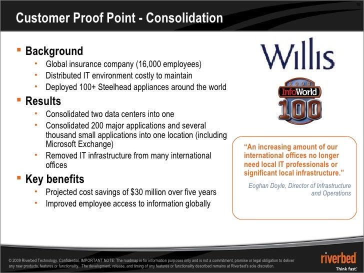 Customer Proof Point - Consolidation <ul><li>Background </li></ul><ul><ul><li>Global insurance company (16,000 employees) ...
