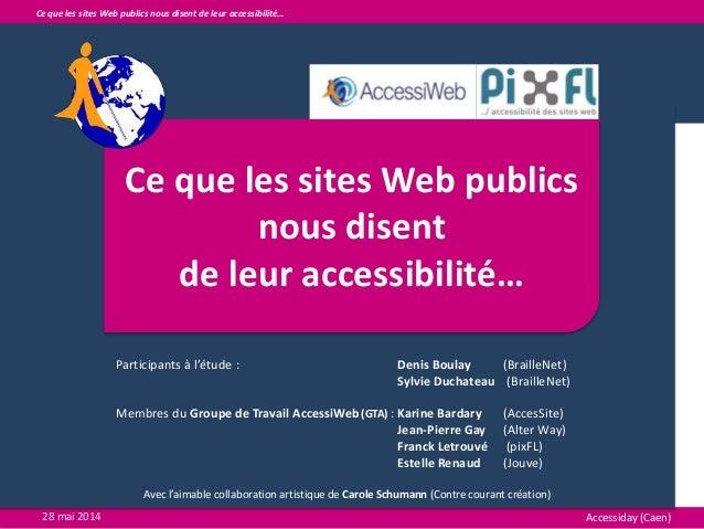 Ce que les sites Web publics nous disent de leur accessibilité… Participants à l'étude : Denis Boulay (BrailleNet) Sylvie ...