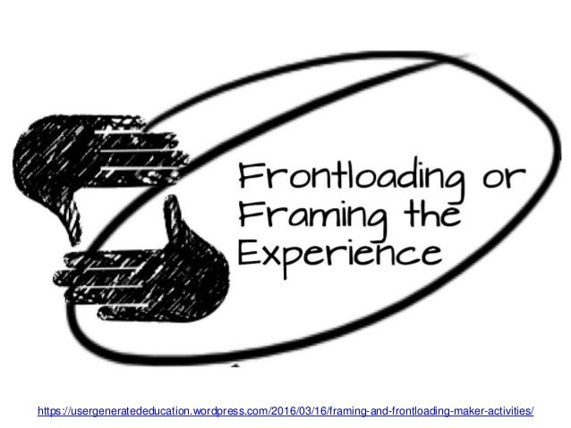 https://usergeneratededucation.wordpress.com/2016/03/16/framing-and-frontloading-maker-activities/ Frontloading is making ...