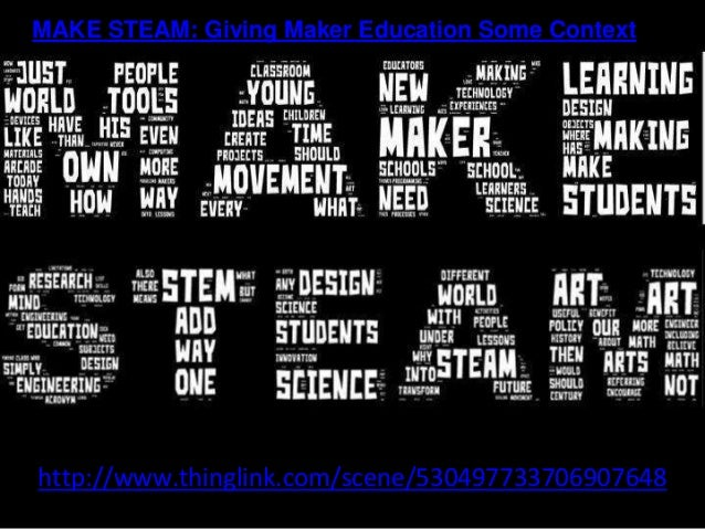 http://www.thinglink.com/scene/530497733706907648 MAKE STEAM: Giving Maker Education Some Context