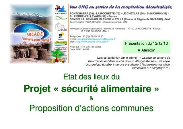 Présentation du 12/12/13 À Alençon Lors de la réunion sur le thème : « La prise en compte de l'environnement dans la coopé...