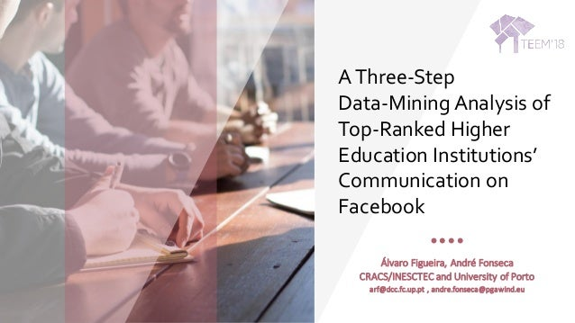 AThree-Step Data-Mining Analysis of Top-Ranked Higher Education Institutions' Communication on Facebook Álvaro	Figueira,	A...