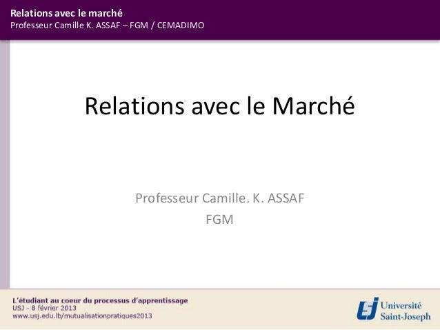 Relations avec le marchéProfesseur Camille K. ASSAF – FGM / CEMADIMO                Relations avec le Marché              ...