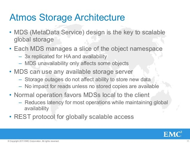 11© Copyright 2011 EMC Corporation. All rights reserved. Atmos Storage Architecture • MDS (MetaData Service) design is th...