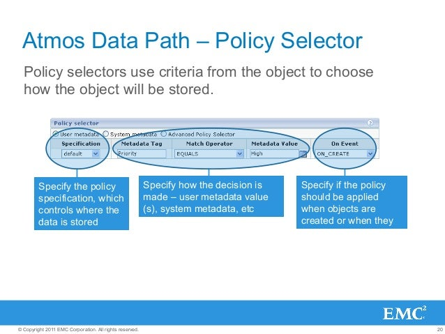 20© Copyright 2011 EMC Corporation. All rights reserved. Atmos Data Path – Policy Selector Policy selectors use criteria f...