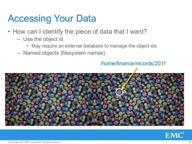 24© Copyright 2011 EMC Corporation. All rights reserved. Accessing Your Data • How can I identify the piece of data that ...