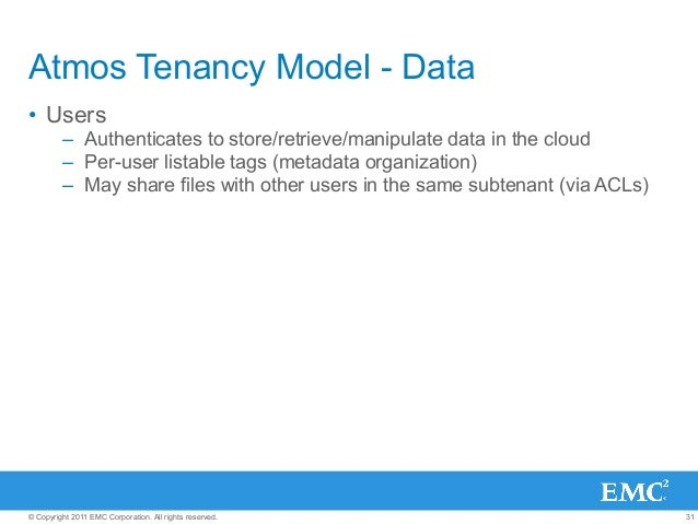 31© Copyright 2011 EMC Corporation. All rights reserved. Atmos Tenancy Model - Data • Users – Authenticates to store/ret...