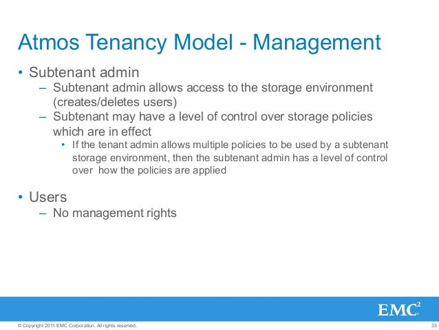 33© Copyright 2011 EMC Corporation. All rights reserved. Atmos Tenancy Model - Management • Subtenant admin – Subtenant ...